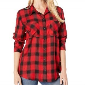 SANCTUARY BUFFALO PLAID RED BLACK FLANNEL SHIRT XS